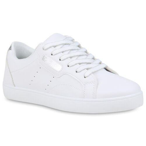Damen Sneaker Low Bunte Schnürer Bequeme Freizeitschuhe Flats 898942 Top