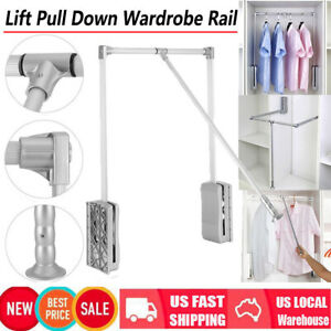Details About Adjule Wardrobe Hanging Rail Lift Pull Down Closet Rod Cabinet Rack Hanger