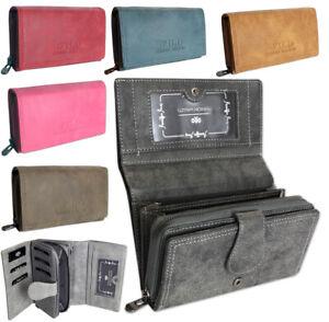 Damen-Geldboerse-gross-schwarz-Portemonnaie-viele-Kreditkartenfaecher-7-Farben