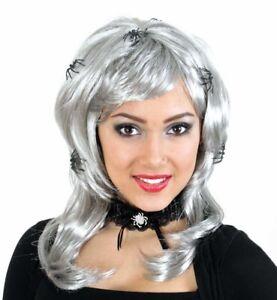 Peruecke-Spiderlady-grau-Hexe-mit-Spinne-Witch-Halloween-Ghouls-123567913
