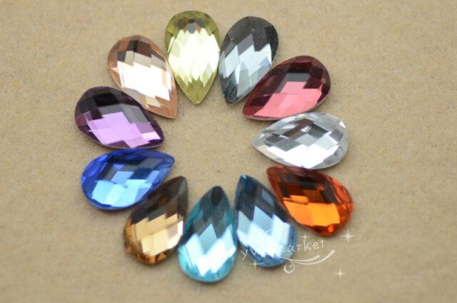 100 PCS 7mm x 12mm Tear Drop Glass Faceted Glass Flat Back Jewels