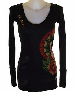 Nouveau Femme Ed Hardy Long T Shirt Top Court Mini Robe Noir Côtelé Stretch-afficher Le Titre D'origine