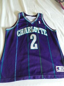 Image is loading Champion-Authentic-Larry-Johnson-Charlotte-Hornets -jersey-s- 12f0aa616