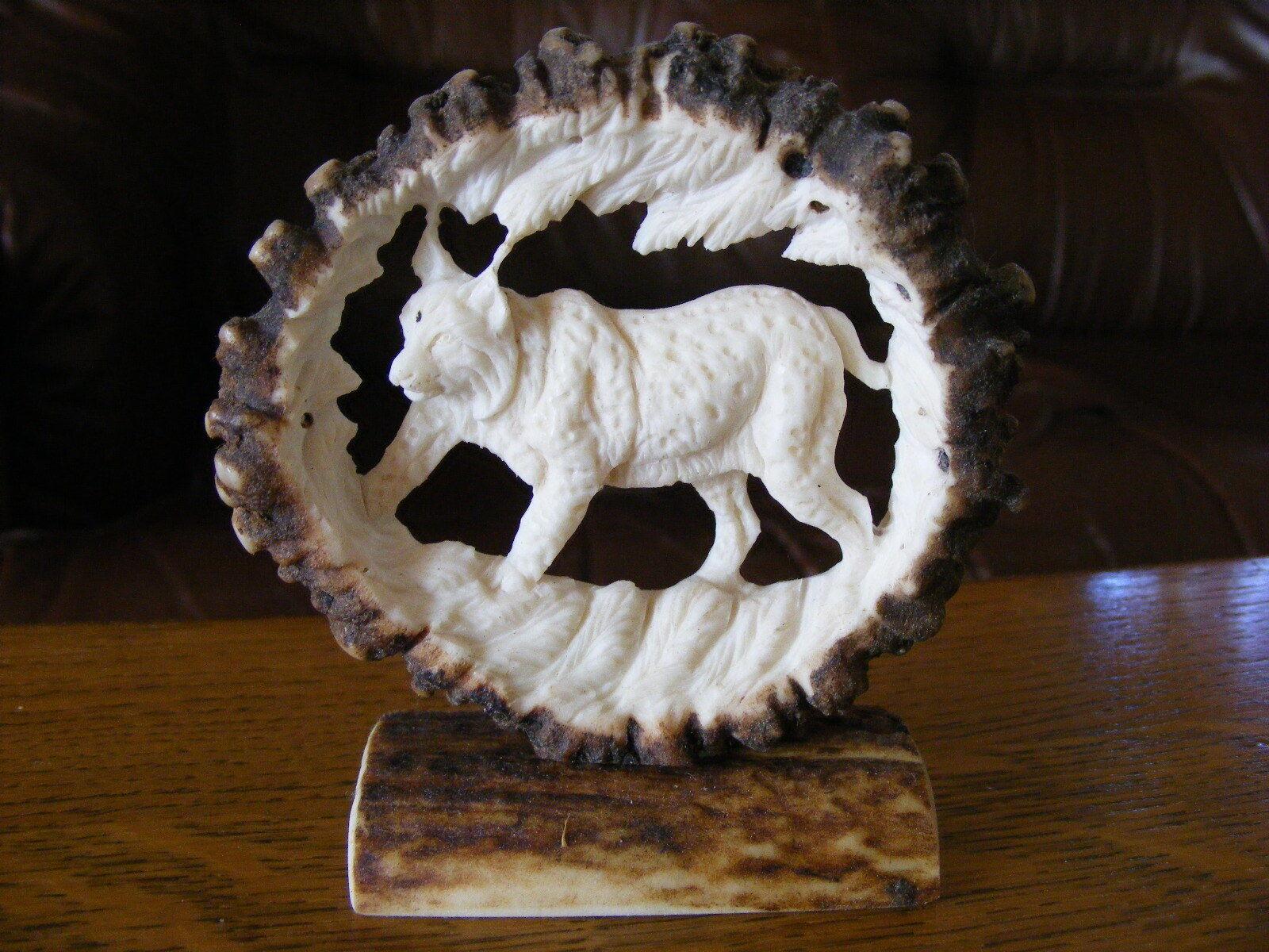 Mano tallada cornamentas, lince, Decoración Taxidermia cráneo de caza