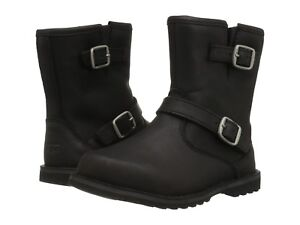 52297ee387c Details about New UGG Harwell Short Leather Boots Side Zip Double Buckle  Black Size 5 / EU 35