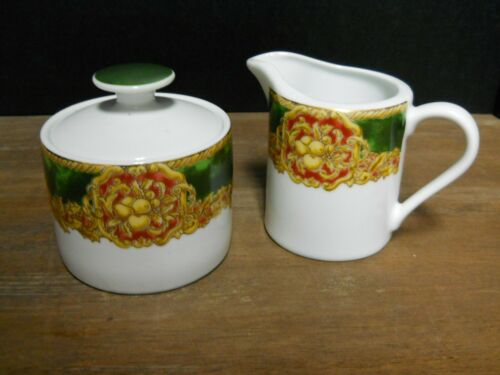 Covered Sugar & Creamer American Atelier Noel Pattern Multi Color on White As Is