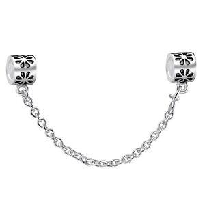 European-Charm-925-Silver-Safety-Chain-Flower-Pattern-For-Sterling-Bead-Bracelet