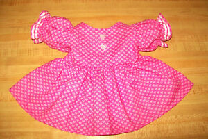 """VALENTINE HEART HEARTS DRESS PINK ALL PRINT RIBBON for 16-18/"""" CPK Cabbage Patch"""