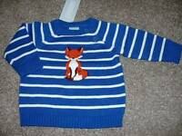 Gymboree Baby Boys Woodland Tail Blue Fox Sweater Size 0-3 Mos Months