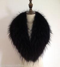 Black Real Raccoon Fur Collar scarf wrap shawl winter neck warmer 35.4inch F03