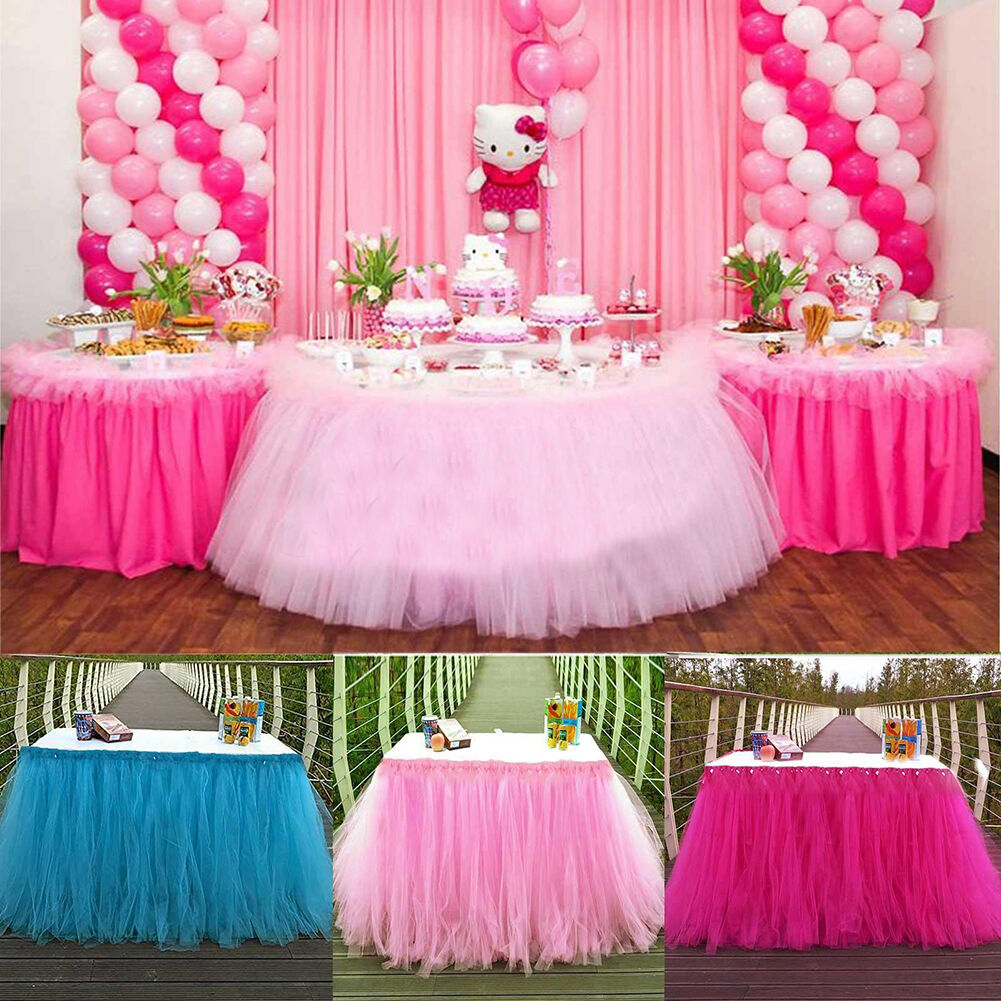 Tulle Tutu Table Skirt Tableware Wedding Party Xmas Baby