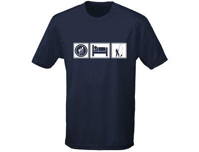 Eat Sleep Pesca Divertente Uomo Pesca Sportiva Denunciando T-shirt (12 Colori)-mostra Il Titolo Originale
