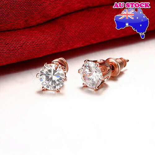 18K Rose Gold Filled Classic 6MM Clear Zircon Lab Diamond Cutting Stud Earrings