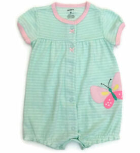 fb8d71d33416 Carter s Baby Girl Butterfly Romper One-Piece Outfit Mint Green Size ...