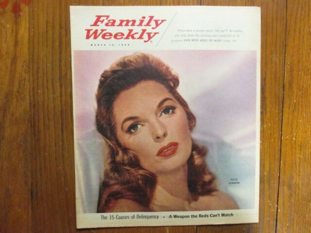 March 15, 1959 Family Weekly Magazine(JULIE  LONDON/CRY  ME  A RIVER/EMERGENCY!)