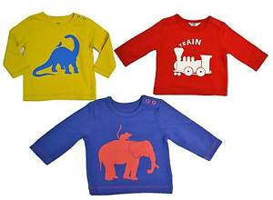 Mini Boden boys baby cotton motif long sleeve shirt dinosaur elephant train top