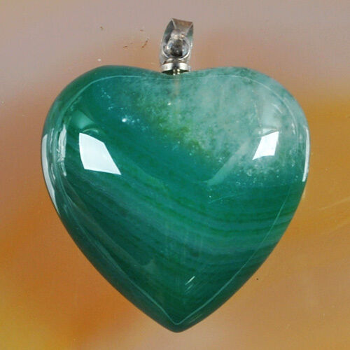 Pendant - Lovely  Green Druzy Agate Heart on a White Gold Filled Chain