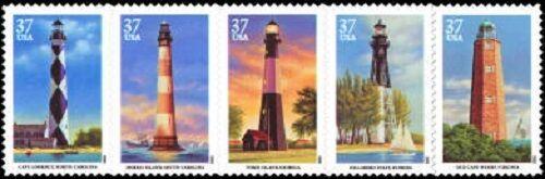 2003 37c Southeastern Lighthouses, Strip of 5 Scott 378