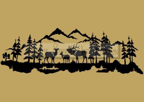Al aire libre Venado Elk Escena Vinilo Pared diciendo Letras citar Decoración calcomanía Signo
