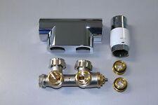 Heizkörper Mittelanschluss-Block ECK SET inkl Thermostat, Oventrop, verchromt