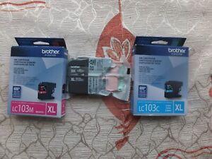 3-Genuine-Brother-LC103-XL-Black-Cyan-Magenta-1-of-each-ink-cartridge-New-2019