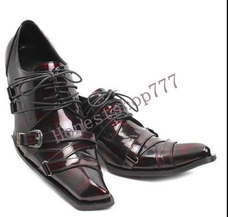 NEW Uomo Lace Up Buckles Dress Shoes Pelle Square Toe Formal Wedding Stivali cH