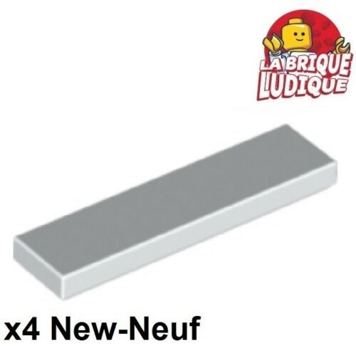 Lego 4x Tile Plate Smooth 1x4 with Groove White//White 2431 New