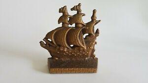 Vtg Cast Iron Galleon Schooner Ship Single Bookend Paperweight Small Doorstop L3