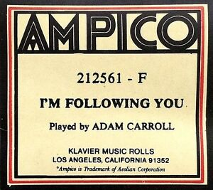 """Re-Cut je suis vous suivent Adam Carroll 212561-F player piano roll-afficher le titre d`origine K21gDsQG-08122216-718923443"