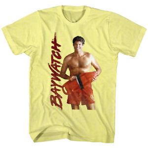 5f0fb822119 Details about Baywatch David Hasselhoff Men s T Shirt TV LA Beach Lifeguard  Mitch Buchannon