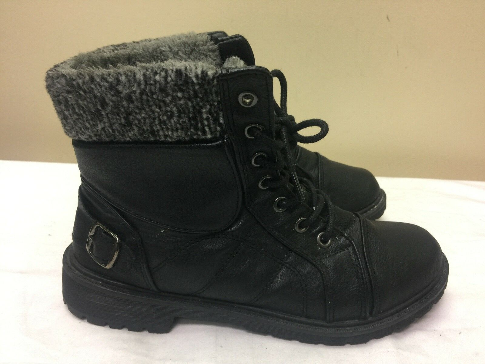 Refresh women ankle boots man made material/fur lining  black color size EUR 39