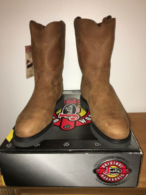 0921488e348 Justin Original Double Comfort 4764 Mens Aged Bark Steel Toe 10 ...