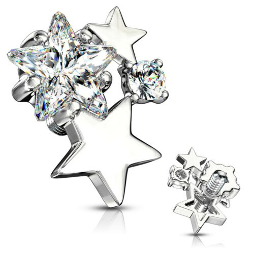 INTERNALLY THREADED CZ STARS CLUSTER DERMAL ANCHOR TOP PIERCING JEWELRY