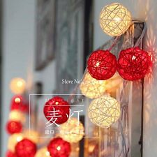5m LED String light Red White Rattan Balls for Wedding Outdoor Christmas Party