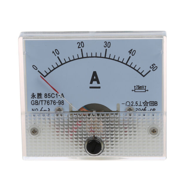 85C1 DC 0-50A Rectangle Analog Panel Ammeter Gauge E6D2