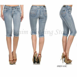 1 Women Juniors Acid Wash Stretch Capris Cropped Cut Off Denim ...