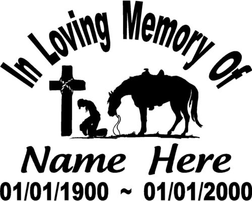 In Loving Memory Cowboy praying Horse Cross Decal Window car Personalized