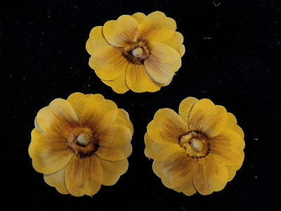 """Vintage Millinery Flower Yellow Gold 1 1/2"""" Lot of 3 for Hat Wedding + Hair XT"""