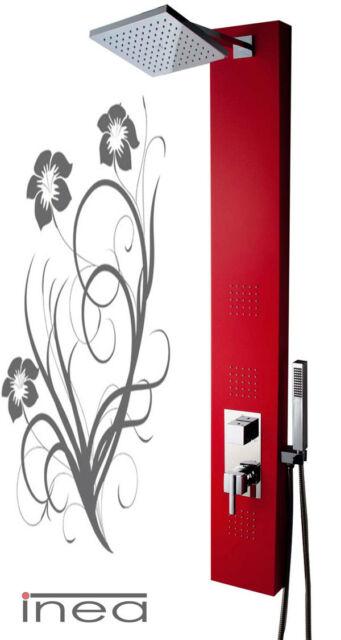 708R Aluminium Shower Panel square massage jets, adjustable overhead RED !!