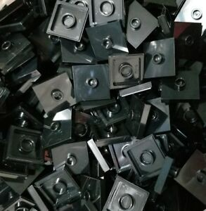 LEGO 50 Black Plates Modified 2 x 2 with Groove Stud Jumper