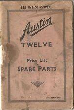 Austin Twelve 12 original Price List of Spare Parts 1936 No. 1421A UNILLUSTRATED