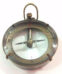 Antique Map Reader Compass Brass Nautical Navigational Magnifying - Antique map box