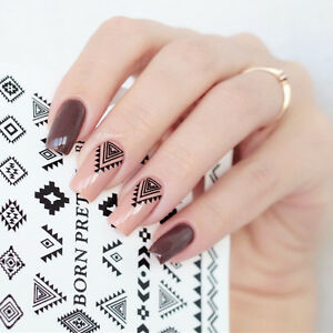 2 Sheets Nail Water Decals Geometry Nail Art Transfer Stickers DIY ...