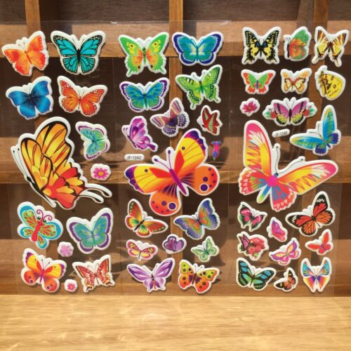 4 Sheets No Repeat Children/'S Cartoon Butterfly Stereoscopic Puffy Stickers Lots