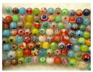 65X-Mix-Millefiori-Flower-Lampwork-Glass-Beads-Hole-size-1mm-Findings-5-5mm
