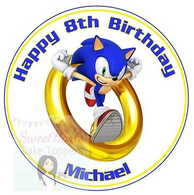 SONIC THE HEDGEHOG CAKE TOPPER PERSONALISED ROUND EDIBLE ...