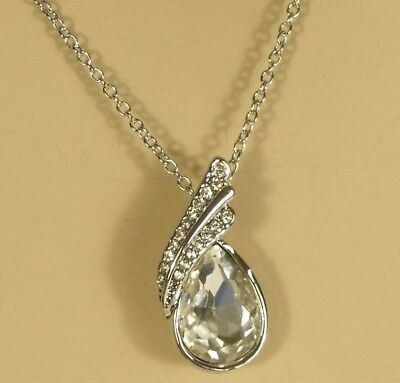Stainless Steel Polished White Enameled Crystals Necklace18 Inches