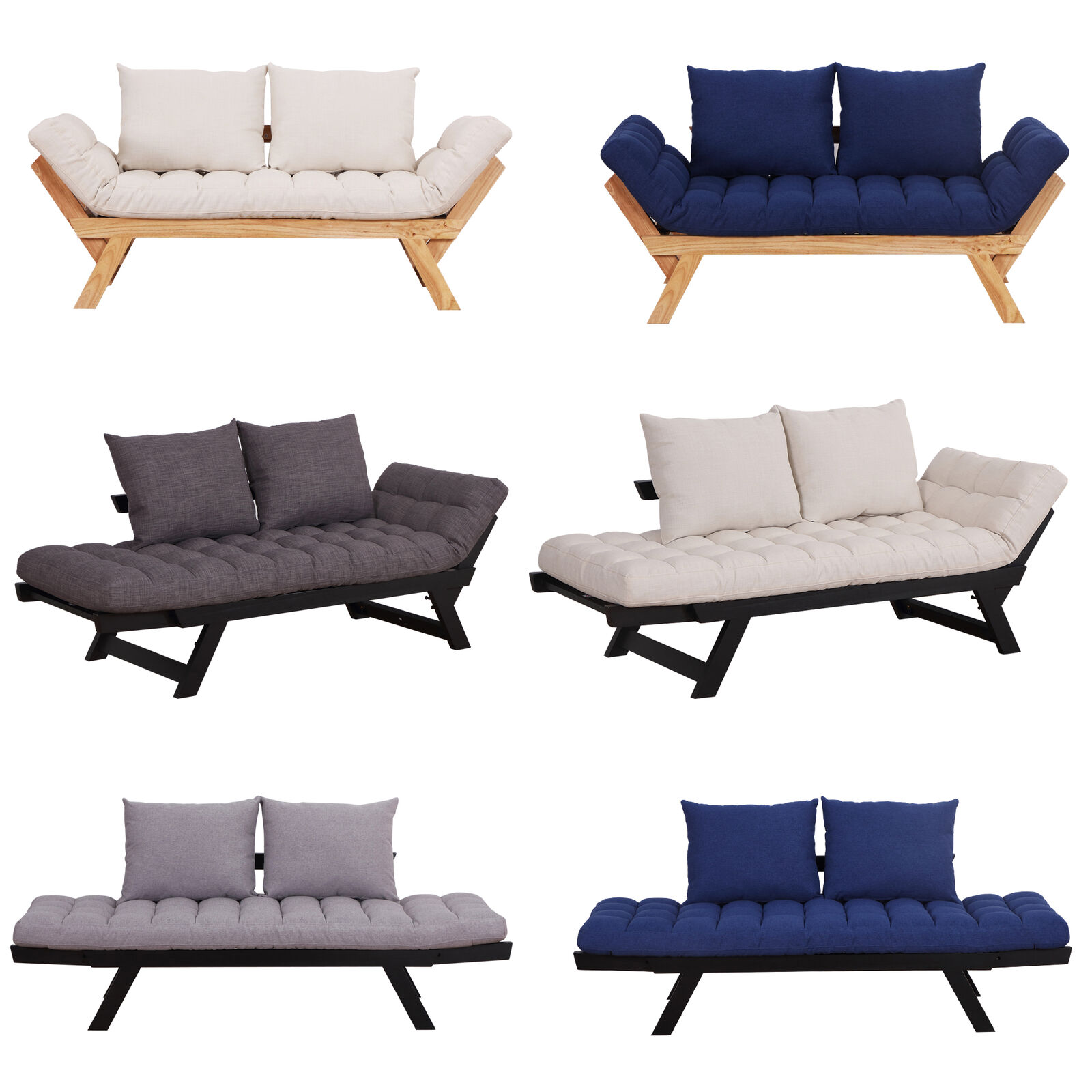 Swell Convertible Sofa Bed Sleeper Couch Chaise Lounge Chair Adjustable Padded Pillow Andrewgaddart Wooden Chair Designs For Living Room Andrewgaddartcom