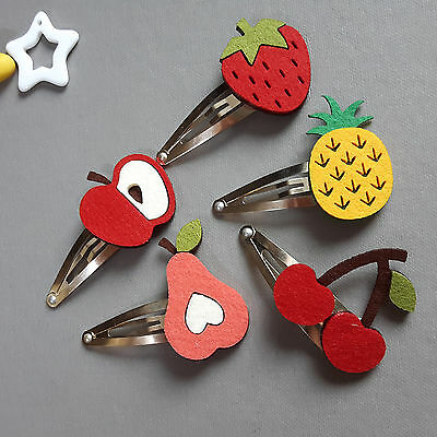 Hair clips Handmade Fruits Felt Hair Clips for baby Hair Snap Pin by ribbonnkids