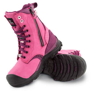 Women's waterproof steel toes work boots   CSA approved   Pink